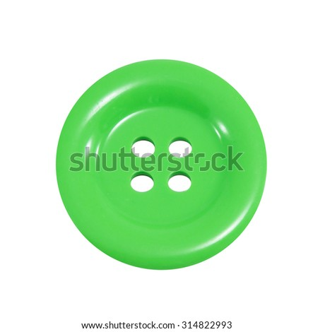 Sewing buttons, Plastic buttons, Colorful buttons, Buttons close up, Green sewing button isolated on white background. - stock photo
