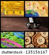 Sewing collage includes macro images of tape measure, pincushion, threaded machine needle, colorful polka dot fabric with decorative ribbons, scissors, and wooden buttons. - stock photo