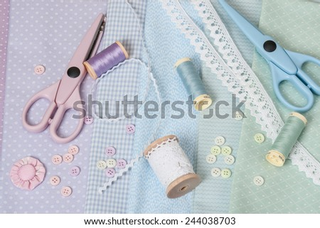 Sewing Craft Kit. Tailoring Hobby Accessories - stock photo
