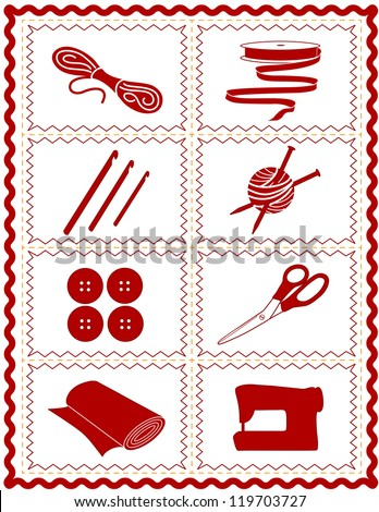 Sewing, Craft Tools for knit, crochet, tailoring, fashion, quilting, do it yourself hobbies: needles, hooks, yarn, buttons, scissors, machine, ribbon, cloth, isolated on white,red rick rack frame. - stock photo