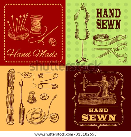 Sewing design concept with tailor equipment sketch icons set isolated  illustration - stock photo