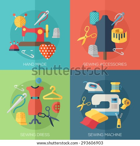 sewing dress, sewing machine, accessories, hand made icons. Concepts for web banners and promotional materials. - stock photo