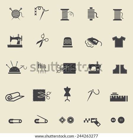 Sewing equipment and needlework. Black icons for sewing, knitting, needlework, pattern. Small device - stock photo