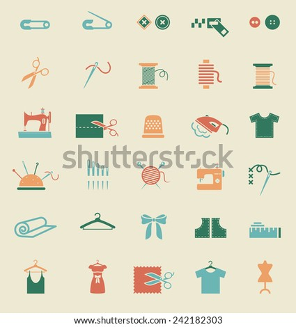 Sewing equipment and needlework. Multicolored icons for sewing, knitting, needlework, pattern. Small device - stock photo