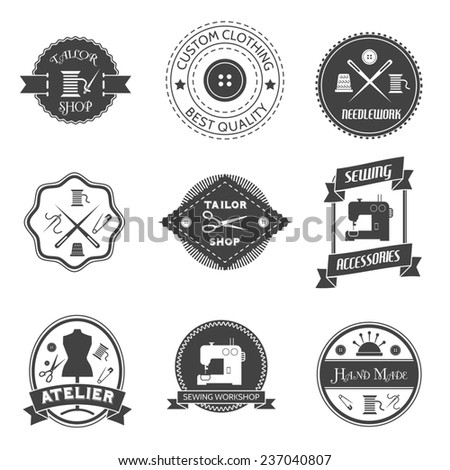 Sewing equipment atelier tailor shop label set isolated  illustration - stock photo