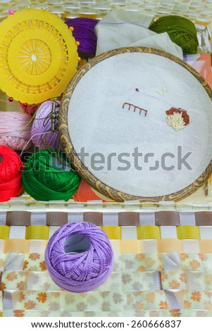 sewing kit and storage white background. - stock photo