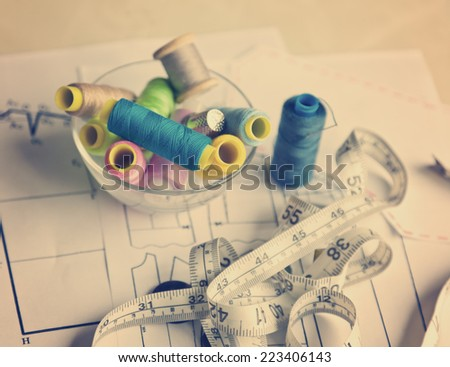 sewing kit, different objects for needlework - stock photo