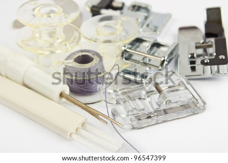 sewing machine details, sewing machine parts, accessories - stock photo