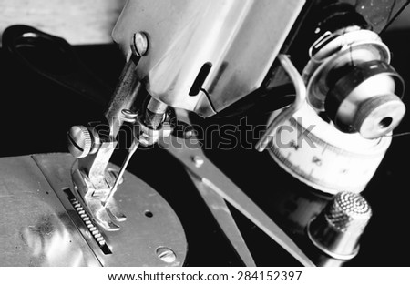 Sewing machine old model.Black and white image. - stock photo