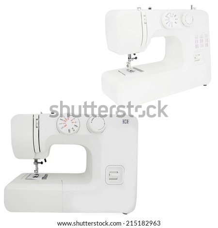 sewing-machine under the white background - stock photo