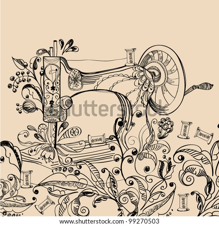 Sewing machine with floral ornament, beautiful background - stock photo