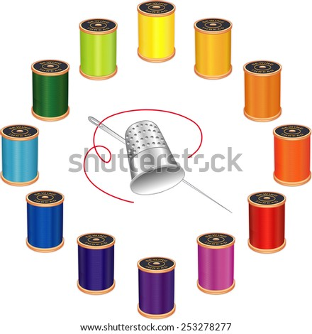 Sewing Needle, Thimble, 12 spools of thread in vivid colors, circle design isolated on white background for do it yourself sewing, tailoring, quilting, crafts, needlework.  - stock photo