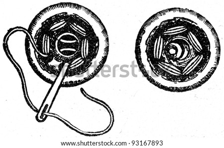 sewing  of garment buttons - an illustration of the ABC sewing, Peasant Newspaper Publishers, Moscow, USSR, 1931 - stock photo