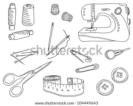 Sewing stuff and tools - hand-drawn illustration - stock photo