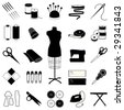 Sewing, Tailoring Icons: mannequin, needle, thread, machine, ribbon, labels, patterns, buttons, thimble, pincushion, iron. For tailoring, dressmaking, needlework, textile arts, do it yourself crafts.  - stock photo