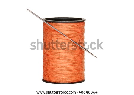 sewing thread with needle - stock photo
