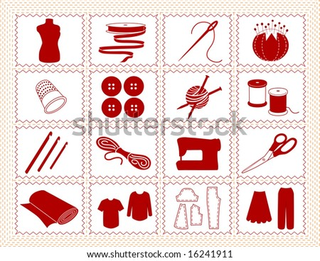 Sewing Tools: fashion model, needle, thread, scissors, yarn, ribbon, pincushion, for sewing, tailoring, dressmaking, needlework, quilting, crochet, craft, do it yourself hobbies, red stitch frame. - stock photo