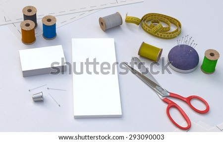 Sewing tools, Tailor kit, mockup - stock photo