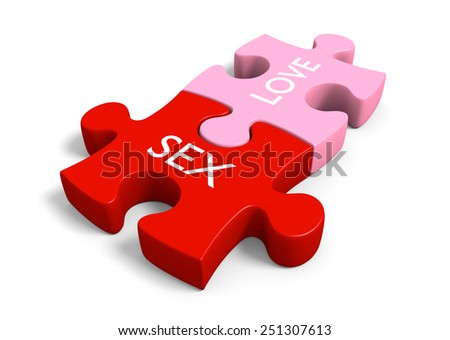 Sex and love puzzle pieces for sexual education and sensuality themes - stock photo