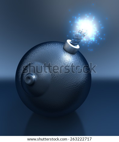 Sex bomb in shape of a breast, glossy, reflecting black leather surface, lit fuse - stock photo