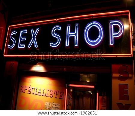 Sex Shop Neon Sign - taken in Paris but could be anywhere I guess - stock photo
