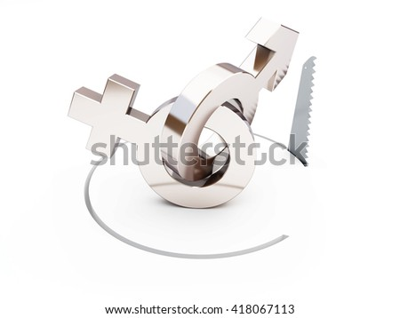 sex sign hand saw cuts around 3d Illustrations on a white background - stock photo