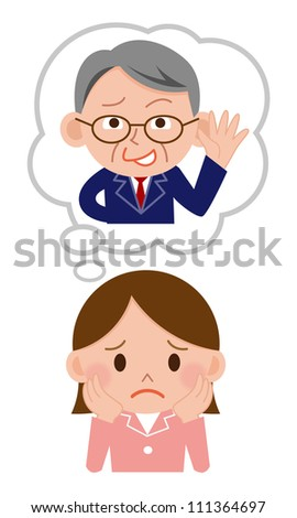 Sexual harassment of women at work in the office - stock photo