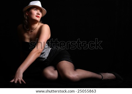Sexual woman in hat - stock photo