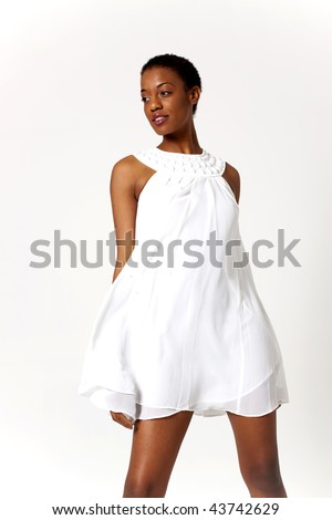 Sexy African American woman in short dress - stock photo