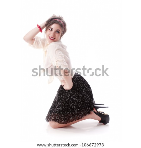 Sexy and young isolated pin up girl on white background - stock photo
