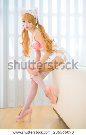 sexy asian cat ear girl model in  underwear japanese style sexy  - stock photo