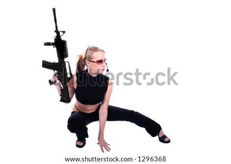 Sexy Assassin - Female Hitman - Law Enforcement Officer - stock photo