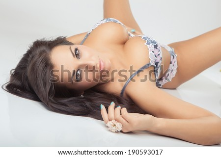 sexy attractive girl with big breasts in lingerie - stock photo