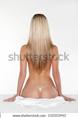 Sexy back of  blond woman female with Straight Long Hair - stock photo