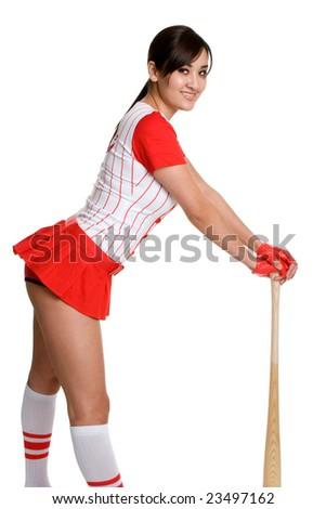 Sexy Baseball Girl - stock photo