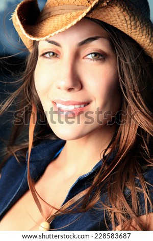 sexy beautiful cowgirl - stock photo
