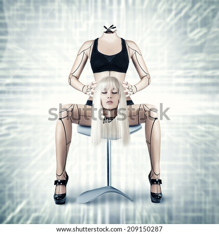 Sexy beautiful cyborg woman holding her head in hands - stock photo