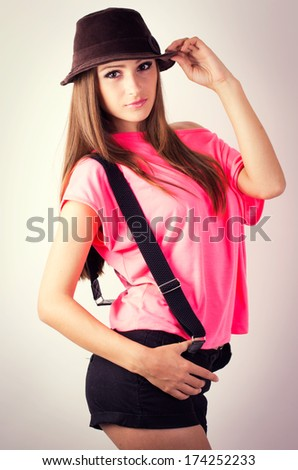 sexy beautiful girl with hat - stock photo