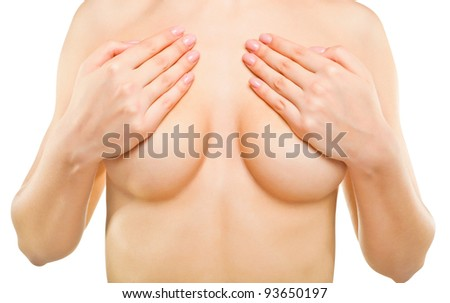 Sexy beautiful woman covering her nude breast, isolated on white background - stock photo