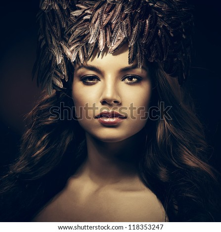 sexy beautiful woman in hat in dark - stock photo
