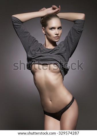 sexy beautiful woman in underwear. beauty girl in lingerie.fashion portrait - stock photo