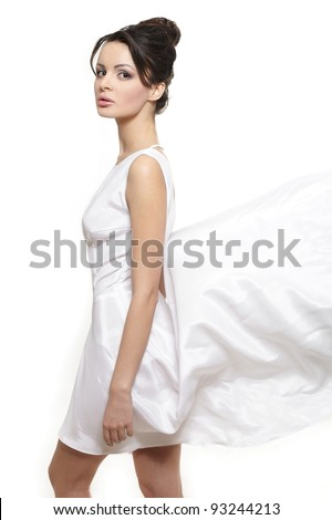 Sexy beautiful woman lady wearing white flying dress bride isolated on white - stock photo