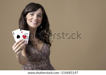 Sexy beautiful young casino girl - stock photo