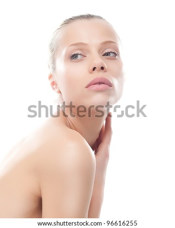 Sexy beautiful young woman. Beautiful natural make-up on her clean skin. Skincare. Beauty - stock photo