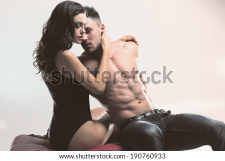 Sexy beauty couple .Portrait of a handsome couple. Glamour colors.  - stock photo