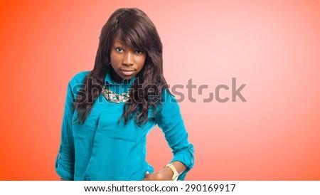 sexy black woman posing - stock photo