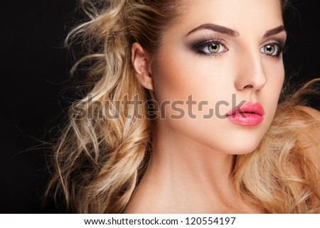 sexy blond woman with chubby lips - stock photo