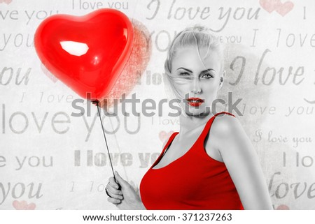 sexy blonde girl with heart shaped balloon, she looks in to the lens with sensual axpression and has hair on the face, black and white image , with some part in red. valentines day concept - stock photo