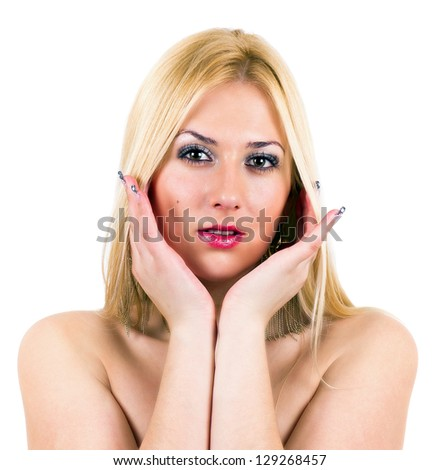 Sexy blonde with her hands under chin. White background - stock photo