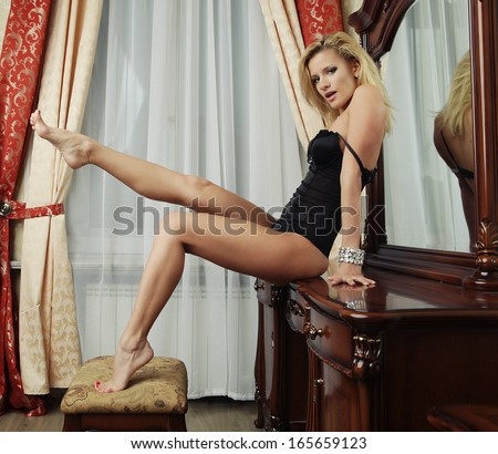 sexy blonde with long legs - stock photo